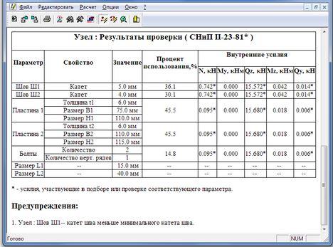 Металлических конструкций для расчета программы